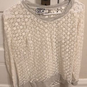 Pam&Gela long sleeve ivory crochet top